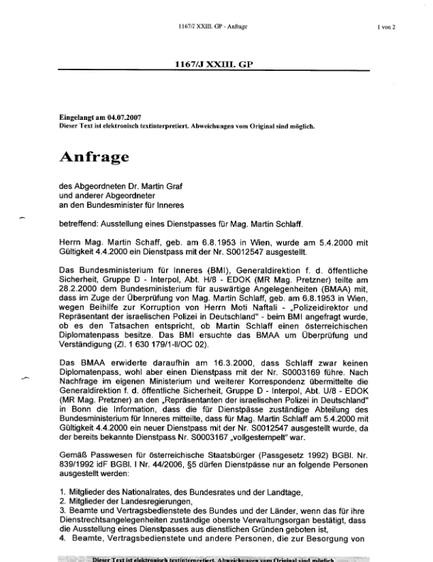 bawag and firtash parlieamenary inquiry sealed part